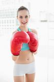 Sporty happy woman boxing Stock Photography