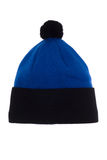Sporty hat with pompom. Blue with black hat, isolate on a white background Royalty Free Stock Photos