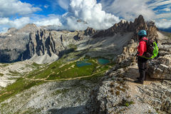 Sporty hiker woman on the Toblin tower peak,Dolomites,Italy Royalty Free Stock Images