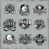 Sporty I rywalizacja Retro Stylowi logowie royalty ilustracja