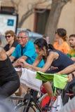 Sporty i zdrowie dzień outdoors w Costa Brava w grodzkim Palamos Przędzalniana klasa 07 04 2018 grodzkich Palamos w Hiszpania Zdjęcia Stock