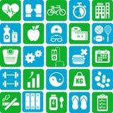 Sporty i zdrowie ikony Obrazy Stock