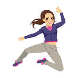 Sporty Jumping Dancing Girl Stock Image