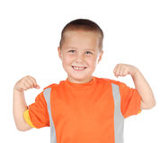 Sporty kid flexing Stock Image