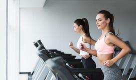 Sporty kobiety biega na karuzeli, robi cardio treningowi w gym zdjęcie royalty free