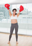 Sporty laughing brunette cheering with boxing gloves Stock Photo