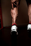 Sporty Legs Calf. Muscular Bodybuilder's Legs Shot In A Gym After workout Royalty Free Stock Photo