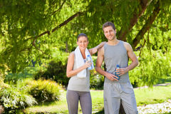 Sporty lovers in the park Stock Image