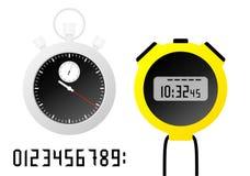 Sporty machinalni, elektroniczny stopwatche i zegar Digital liczby ustawiać Isoated wektoru ilustracja ilustracja wektor