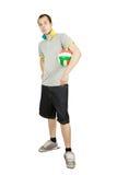 Sporty man  with ball Stock Photos