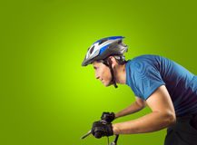 Sporty man cycling Royalty Free Stock Photography