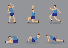 Sporty Man Doing Stretching and Warm Up Exercises. Sporty man in blue singlet and shorts doing stretching and warming up exercises. Vector illustration set Royalty Free Stock Photo