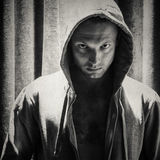 Sporty man in hood, monochrome portrait Royalty Free Stock Images