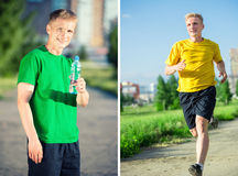 Sporty man jogging in city street park. Outdoor fitness. Stock Photo