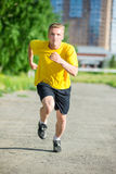 Sporty man jogging in city street park. Outdoor fitness. Royalty Free Stock Images