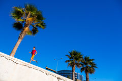Sporty Man jogging at seafront Promenade Alley at Tropical Town Royalty Free Stock Photo