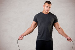 Sporty Man With Jumping Rope Stock Photos