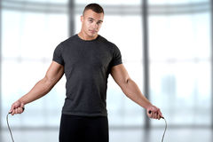 Sporty Man With Jumping Rope Stock Image