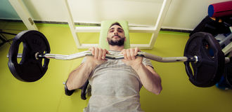 Sporty man lift weights at the gym stock images