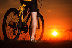 Sporty Man Riding a Bicycle on the Country Road. Stock Image