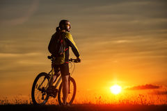 Sporty Man Riding a Bicycle on the Country Road. Royalty Free Stock Photo