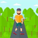 Sporty man on roller-skates. Royalty Free Stock Photo