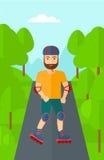 Sporty man on roller-skates. Stock Photo