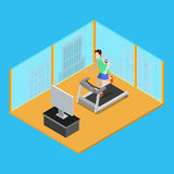Sporty Man Running on Treadmill at Home. Isometric People. Vector Royalty Free Stock Image