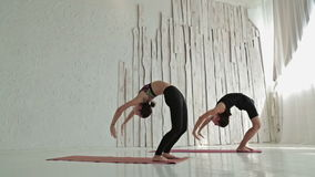 Sporty man and woman doing ashtanga yoga stock video footage