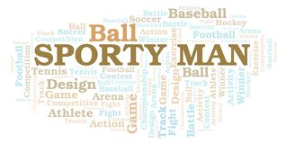 Sporty Man word cloud. Wordcloud made with text only vector illustration