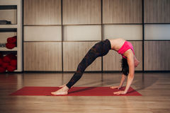 Sporty middle age woman doing yoga practice Stock Images