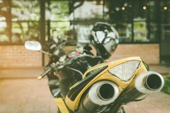 A sporty motorcycle parked royalty free stock photos