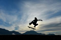 Dynamic, energetic and enthusiastic skateboarding athlete royalty free stock photography