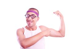 Sporty nerd in glasses Royalty Free Stock Photography