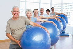 Sporty people carrying exercise balls in bright gym Royalty Free Stock Photography