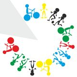 Sporty people. Illustration of colorful sporty schematic people Stock Images