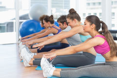 Sporty people stretching hands to legs in fitness studio Stock Image