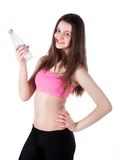 Sporty pretty girl with water bottle Stock Photos