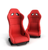 Sporty red automobile armchairs 3d illustration on a white backg Stock Images