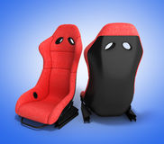 Sporty red automobile armchairs 3d render on a gradient backgrou Stock Photos