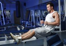 Sporty seksowny mężczyzna pozuje w gym Obraz Royalty Free
