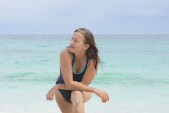Sporty senior woman at beach Royalty Free Stock Image