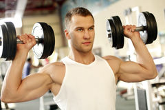 Sporty sexy man posing in gym Royalty Free Stock Photography