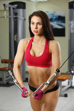 Sporty sexy woman posing in gym Stock Photo