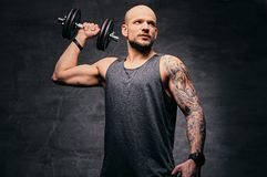 Sporty shaved head tattooed male doing shoulder workout with dumbbell. Athletic shaved head tattooed male doing shoulder workout with dumbbell Royalty Free Stock Photography