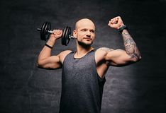 Sporty shaved head tattooed male doing shoulder workout with dumbbell. Athletic shaved head tattooed male doing shoulder workout with dumbbell Stock Photo