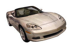 Sporty Silver Convertible Isolated Over White. Sporty convertible car isolated over white. Front/side view Royalty Free Stock Image