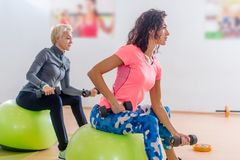 Sporty slim women taking part in gym fitness class exercising sitting on physioballs doing alternated biceps curl with Royalty Free Stock Photo