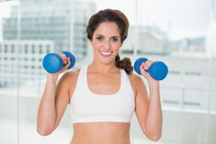 Sporty smiling brunette holding dumbbells Royalty Free Stock Image