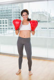 Sporty smiling brunette wearing boxing gloves Stock Images